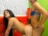 Duas bonecas na frente da webcam
